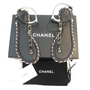 {ChANEL} Braided Flat Sandals Size 39
